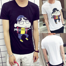 Men Fashion Slim Fit Crew Neck Short Sleeve Casual T-Shirt Top Anime Cosplay Tee