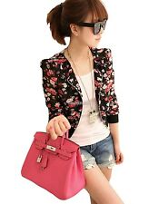 Women Floral Printed Casual Shrug Short Coat Jacket Tops Outerwear Suits Blazer