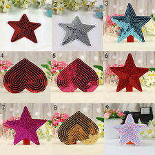 1x Sequins heart motif iron/sew on embroidered patch Cloth badge applique JXCA