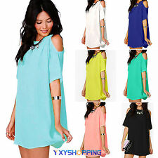 Plus Size Womens Blouse Short Off Shoulder Chiffon Shirt Sexy Mini Dress Tops