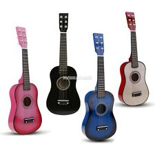 "23"" Wood Toy 6 String Children's Acoustic Guitar+ Pick + Strings Pink/Black/Blue"