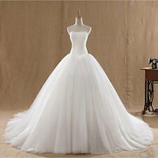 Strapless Long White Ivory Wedding Dresses Tulle Formal Bridal Gown All Sizes