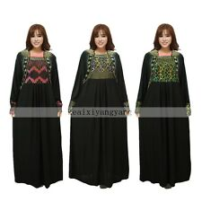 Muslim Plus Size Kaftan Abaya Jilbab Islamic Long Sleeve Maxi Dress Arab Clothes