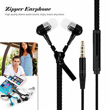 3.5mm In-ear Stereo Headset Earbuds Headphone Mic Zipper Earphone For iPhone LG