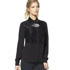 NEW! Prabal Gurung For Target Lace Front Blouse Black Faux Leather XS S L XL