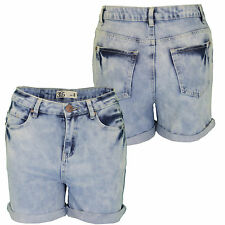 Womens Ladies Blue Washed Faded Denim Roll Up Cuffs Shorts Hot Pants