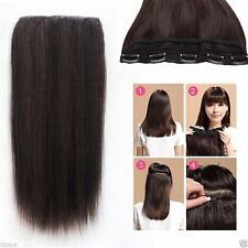 120g Salon 5Clips On One Hairpiece Real Human Hair Remy Clip In Hair Extensions