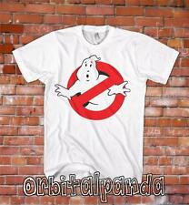 White T-Shirt with Ghostbusters 1 Logo - Retro 80's Classic slime funny Movie