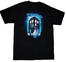 *NEW* Dr Doctor Who - Knock Knock! Who's There? Tardis Black Tee T-Shirt