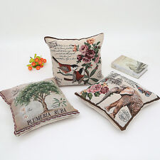 Birds Flower Owl Pillow Case Yarn Dyed Home Car Decor Cushion Cover Square 18""