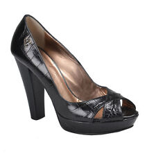 Just Cavalli Leather Black High Heels Open Toe Pumps Shoes Size 7  9.5
