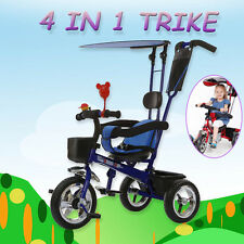 4 In 1 Kids Toddlers Tricycle Bike Smart Trike w/ Parent Handle Push Ride-On Toy