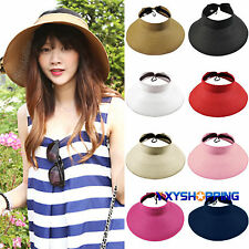 Womens Floppy Hats Foldable Weave Beach Lady Summer Sun Cap Wide Brim Straw Hats