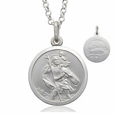 925 Sterling Silver 18MM DOUBLE SIDED Saint St Christopher Pendant Necklace