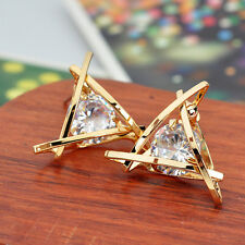 Earrings Women Square Rhinestone Ear Elegant Stud Hot Triangle Lovely Crystal