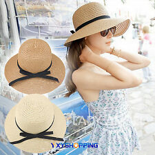 Womens Summer Wide Brim Floppy Straw Hat Beach Holiday Travel Accessory Folding