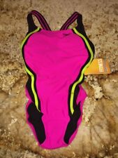 NEW Womens 4 12 SPEEDO Ele Pink Black Quantum Splice Hydro Bra Fitness Swim Suit