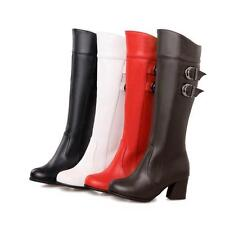 New Hot womens square block heel knee high boots buckle strap boots shoes US4-15