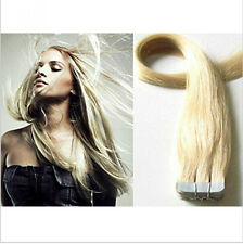 20 Pcs #60 Platinum Blonde PU Hair Skin Weft Tape In Remy Human Hair Extensions