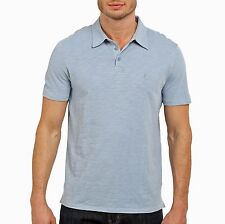 John Varvatos Star USA Men's Short Sleeve Peace Sign Polo Shirt Sky Blue NWT
