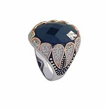925 SOLID STERLING SILVER RING WITH BLACK CUBIC ZIRCONIA & CZ IN DIFFERENT SIZES