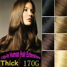 170g 8pcs Deluxe Thick 100%Real Human Hair Clip In Hair Extensions Full Head