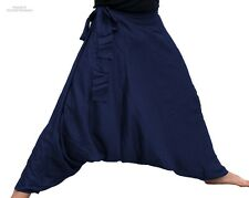 Baggy Side Tie Mao Hill Tribe Pants in Light Summer Rayon in Midnight Blue sz S