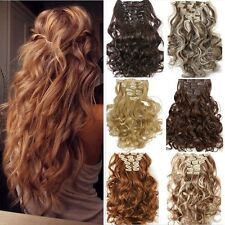 100% Natural Lady Full Head Clip In Hair Extensions Curly Wavy as Human Hair k32