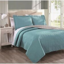 NEW Queen King Bed 3 pc Quilt Set Coverlet Reversible Turquoise Blue Taupe NWT