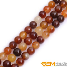 "Natural Carnelian Agate Gemstone Round Beads For Jewelry Making 15"" 6mm 8mm 10mm"