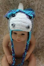 Handmade Knit Crochet Horse Colts Unicorn Hat Baby Kids Child Hat Cap Photo Prop