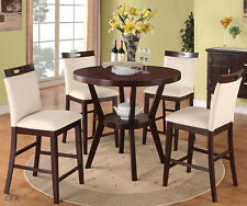 NEW 5PC AREDALE ESPRESSO FINISH WOOD COUNTER HEIGHT DINING TABLE SET w/ CHAIRS