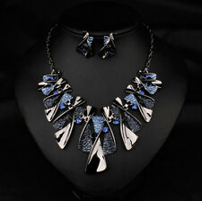 Bib Choker Necklace Women Crystal Chain Statement Fashion Chunky Pendant Jewelry