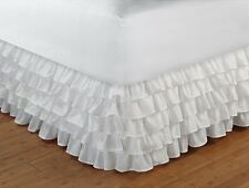 NEW Tailored Ruffled Bedskirt Dust Ruffle Bed Twin Full Queen King 15 Drop White