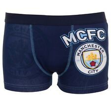 Manchester City FC Official Soccer Gift 1 Pack Boys Crest Boxer Shorts