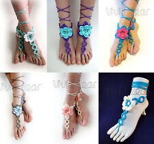 Flowers and Rings Barefoot Beach Sandals Crochet Yoga Shoes Foot or Hand Jewelry