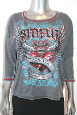 NWT SINFUL by AFFLICTION womens ALBERTA 3/4 SLEEVE burnout Tee SIZE: XS