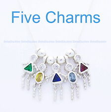 """FIVE .925 Silver Birthstone Charms Baby Brat Bead Child Mother w/20"""" Chain New"""