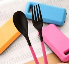 Portable Folding Spoon Fork Chopsticks Picnic Travel Cutlery Bento Tableware Set