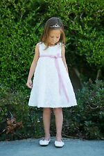 White Rosette Embroidered Flower Girl Dress Communion Wedding Graduation Easter