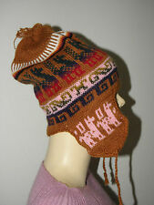 New Made In Peru Light Weight Alpaca Wool Blended Chullo Hat Rust Orange #61604