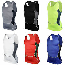 Mens Compression Thermal Baselayer Under Skin Sport Vest Sleeveless T Shirt Tops