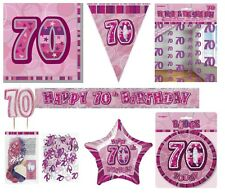 70th Birthday/Age 70 - PINK/GIRL PARTY ITEMS Decorations Tableware - Large Range