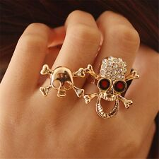 Vintage Typical Gothic/Punk Gold/Silver Crystal Skull Two Finger Double Ring New