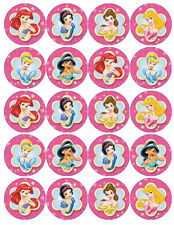 DISNEY PRINCESS PINK EDIBLE WAFER PAPER TOPPERS CUPCAKE CAKE MUFFIN FAIRY
