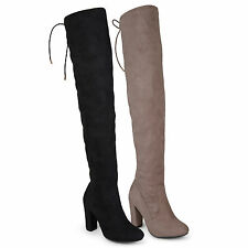 Brinley Co Womens Over-the-knee High Heel Faux Suede Regular and Wide-Calf Boots