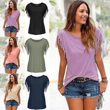 Women Lady's Summer Short Sleeve Tassels Casual T-Shirts Solid Tee Tops Blouse