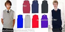 New Boys School Uniform V Neck Sleeveless Tank Top Jumper SweatShirt Size 3toXL