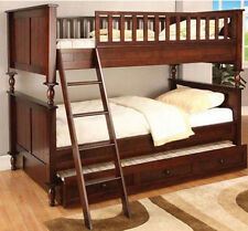 NEW RADCLIFF I BEAD BOARD CHERRY FINISH WOOD TWIN OVER TWIN BUNK BED TRUNDLE