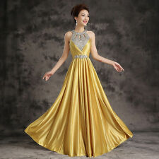 Women Long Evening Dress Rhinestone Bridesmaid Cocktail Formal Prom Party Gowns